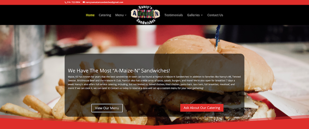 Nancy's A-Maize-N Sandwiches Website
